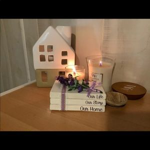 Handmade farmhouse mini wood book bundle stack.